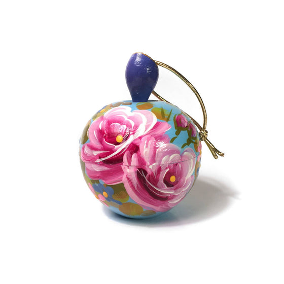 Lacquer Box Ornament: Blue Apple