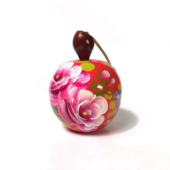 Lacquer Box Ornament: Red Apple