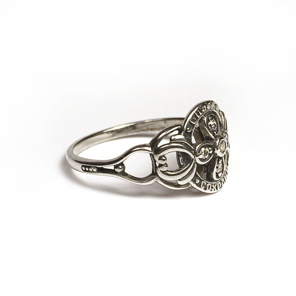 """Save & Protect"" Ring: Four Petal Cross"