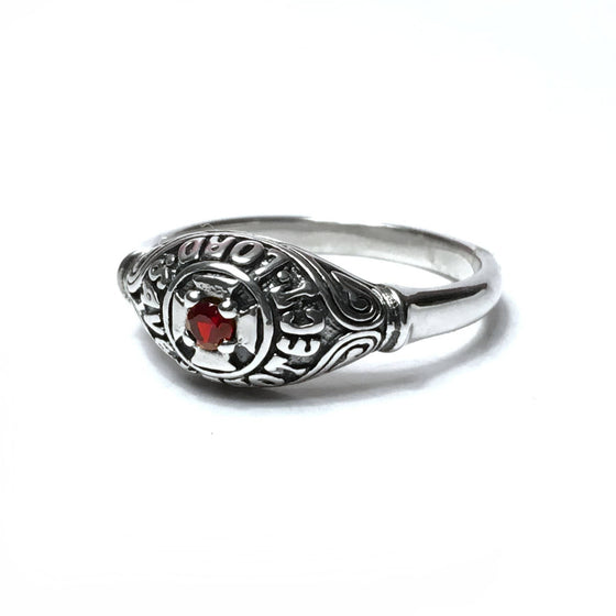 English Prayer Ring: Red Garnet