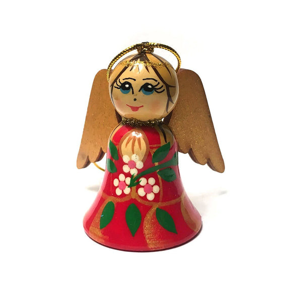 Wooden Angel Ornament: Red