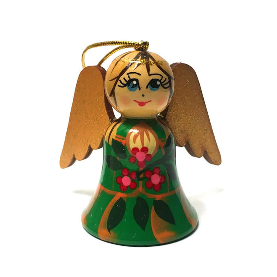 Wooden Angel Ornament: Green