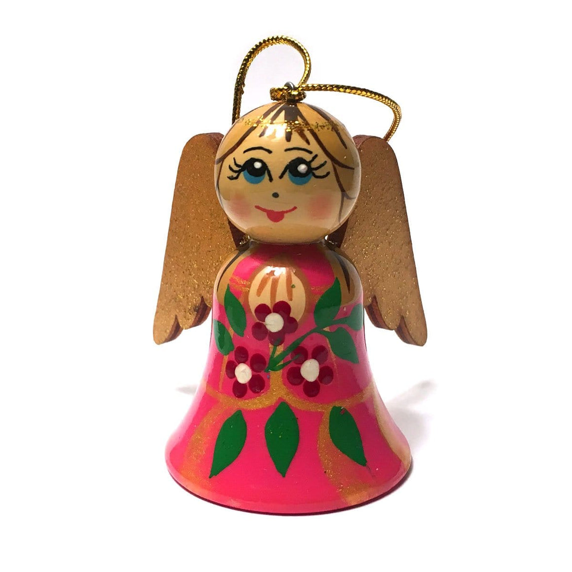 Wooden Angel Ornament: Pink