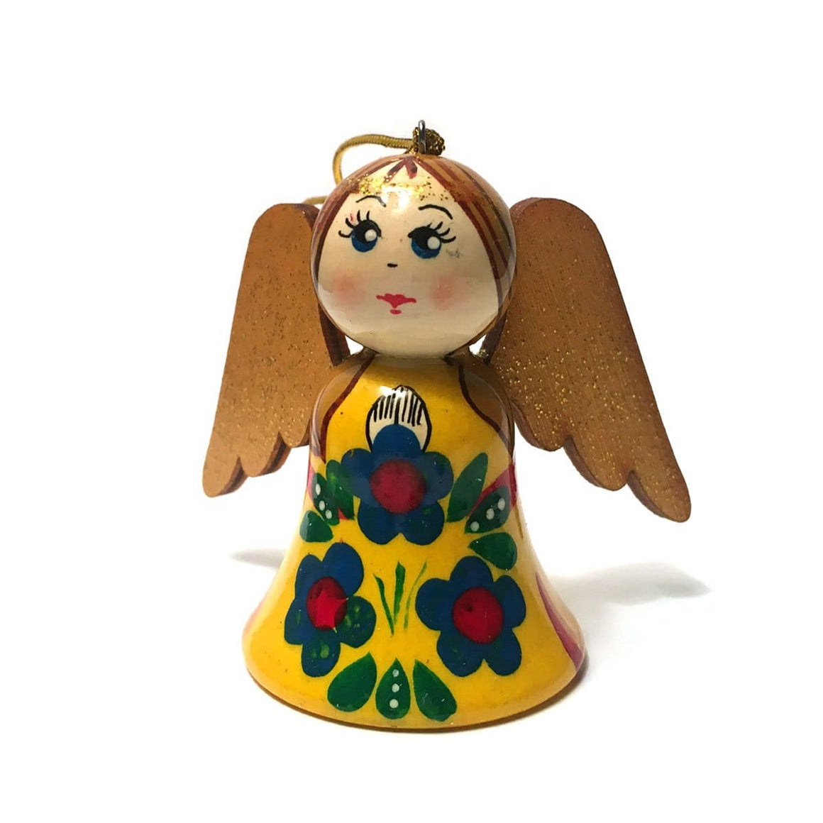 Wooden Angel Ornament: Yellow