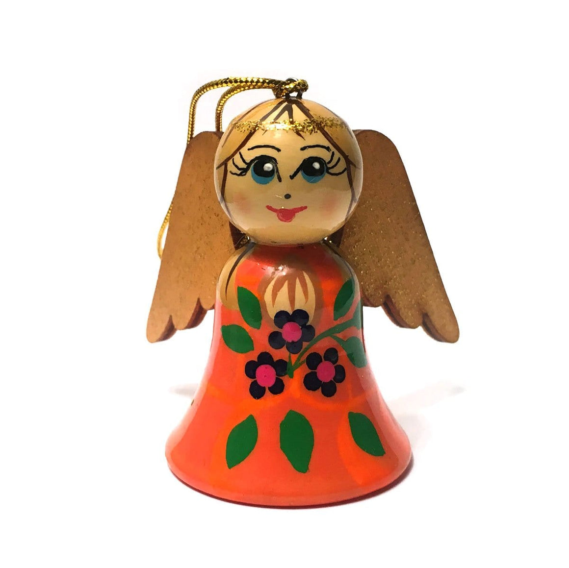 Wooden Angel Ornament: Orange
