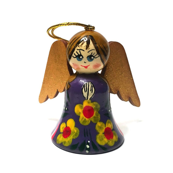 Wooden Angel Ornament: Violet