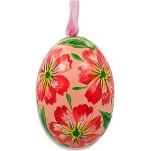 Floral Egg Wooden Ornament: Red Flowers
