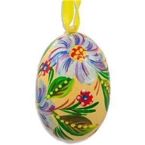 Floral Egg Wooden Ornament: Yellow and Pink Flower