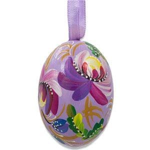 Floral Egg Wooden Ornament: Purple Flowers