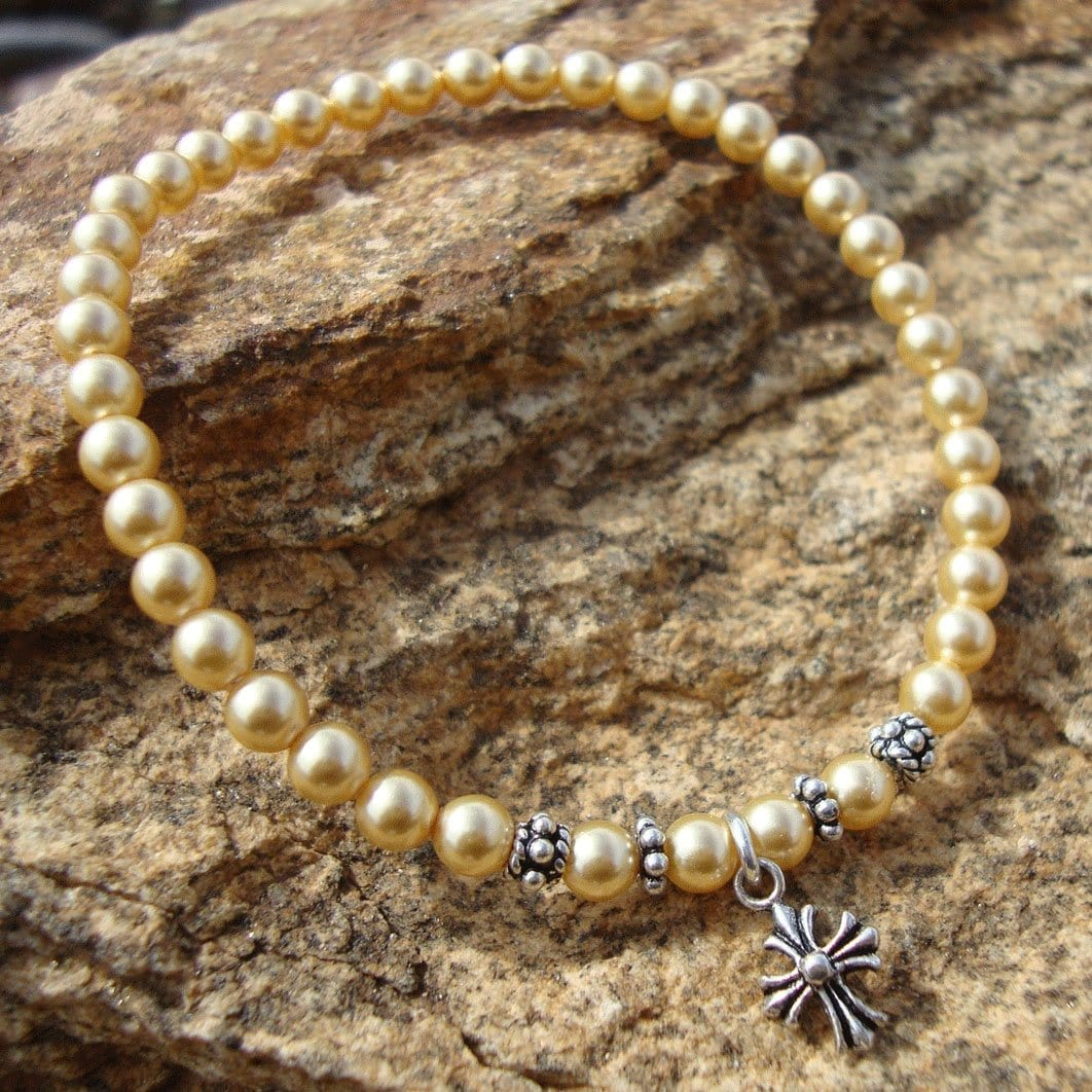 Prayer Bracelet: Panagia's Pearls Gold