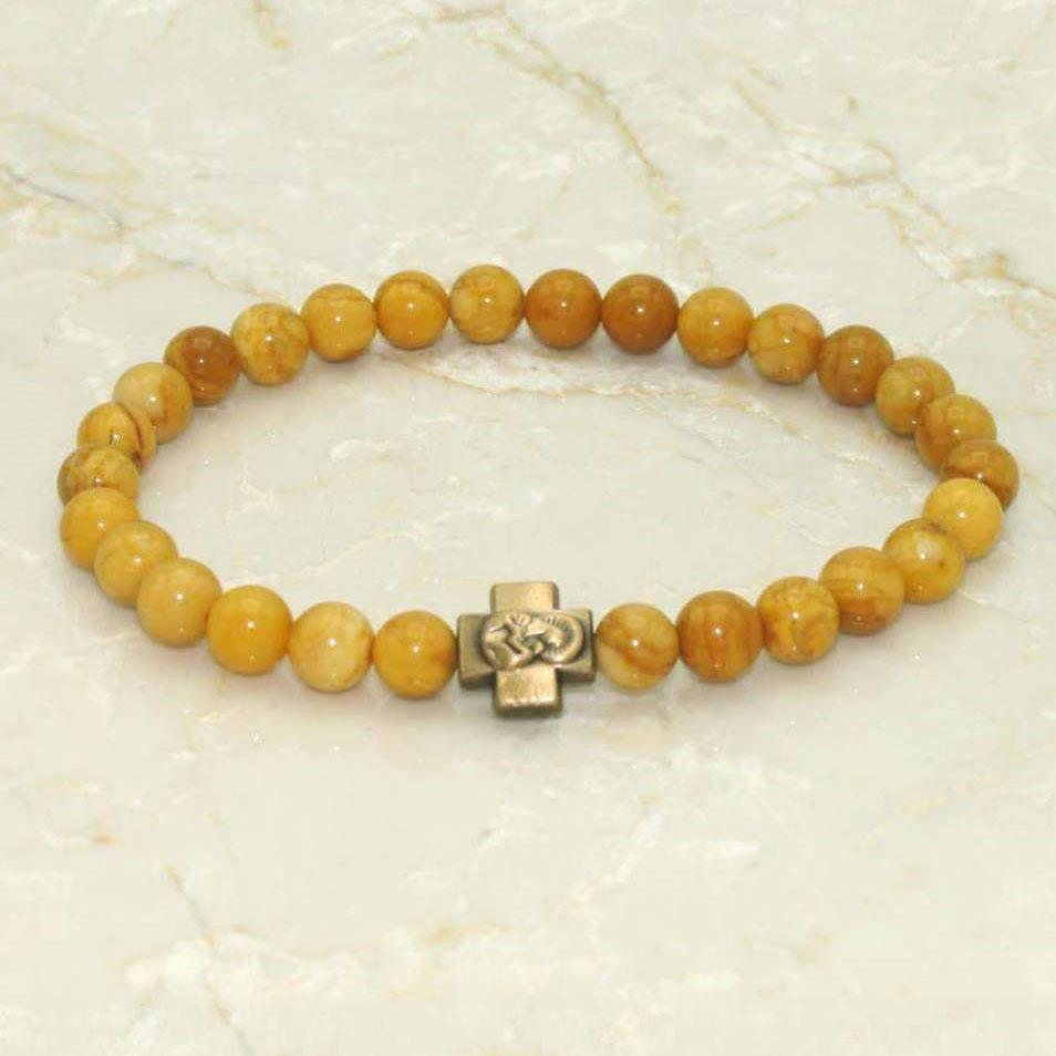 Prayer Bracelet: Semi-Precious Stone Yellow Jasper