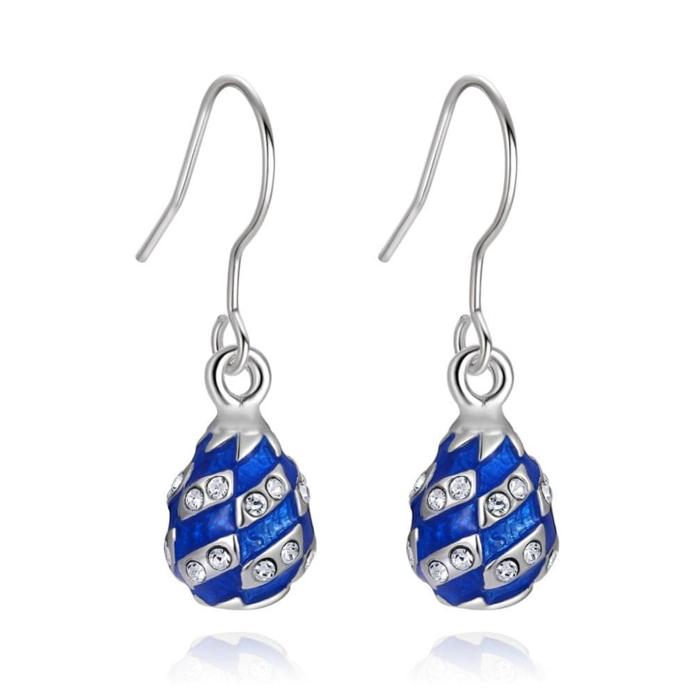 Blue Rhombus Egg Earrings