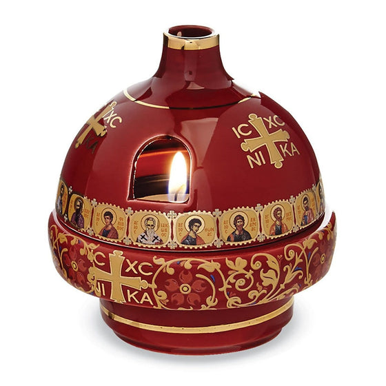 Greek Ceramic Vigil Lamp: Red
