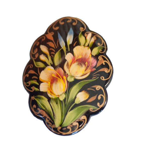 "Wooden Brooch ""Yellow Irises"""