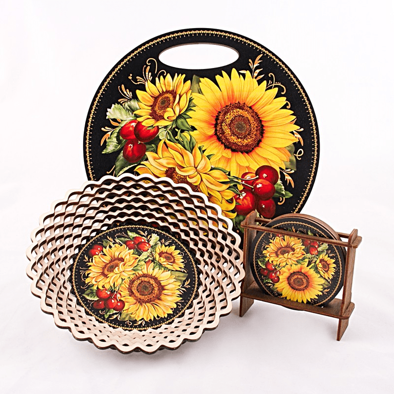 "Decorative Cutting Board ""Sunflowers"""