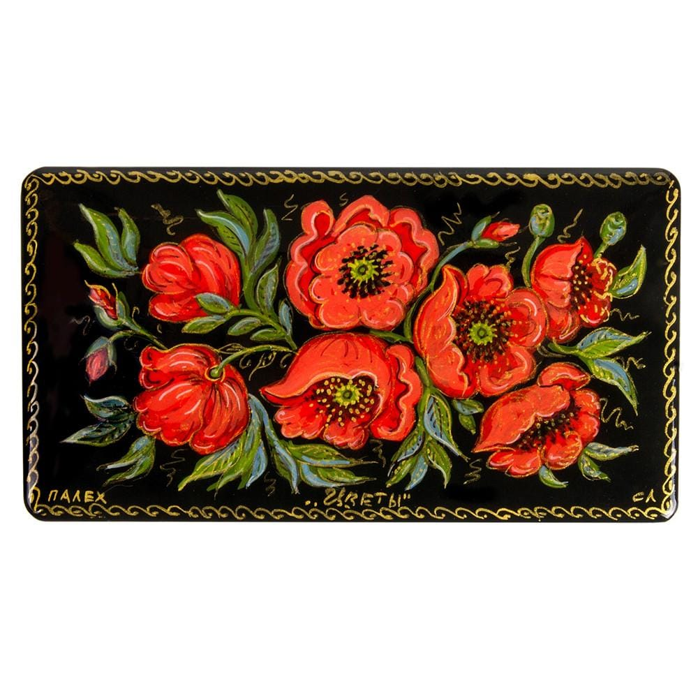 Lacquer Box: Poppies (Hand-painted)