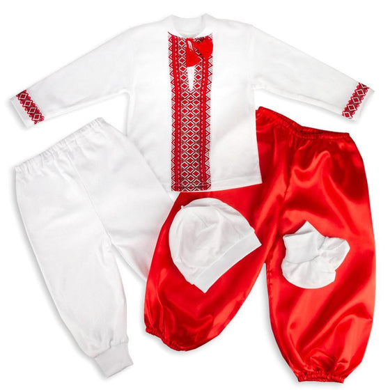 Russian Costume: Red & White (Boys, 5-pc.)