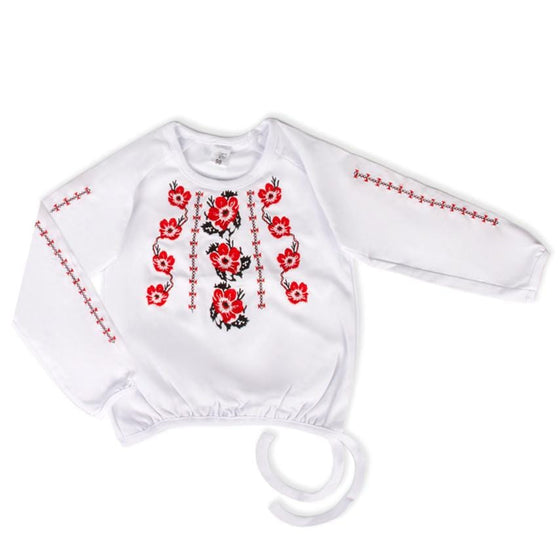 Russian Costume: Girls Red & White Cotton Shirt