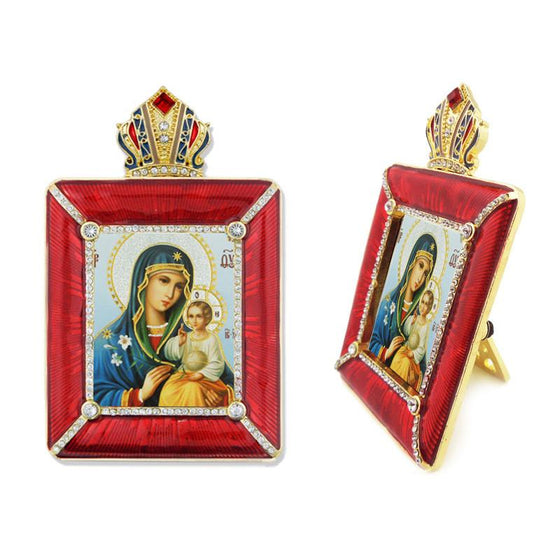 "Faberge Style Frame: Mother of God ""Unfading Eternal Bloom) Icon"