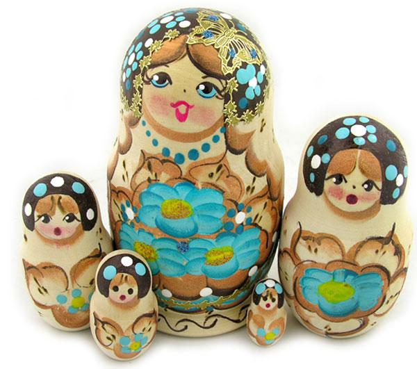 Matryoshka: Blue Butterflies, 5-piece