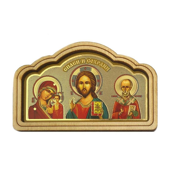 Car Icon: Christ, Mother of God of Kazan and St. Nicholas