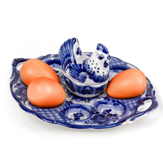 Gzhel Easter Egg Platter with Hen