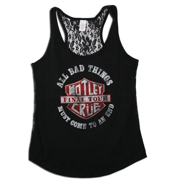 ALL BAD THINGS SHIELD DISTRESSED GIRLS LACE BACK TANK TOP-X-Large