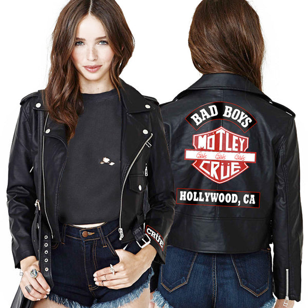 WOMENS CROPPED LEATHER JACKET-X-Large