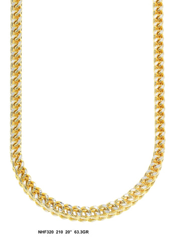 Yellow Gold Franco Link Chain Diamond Cut