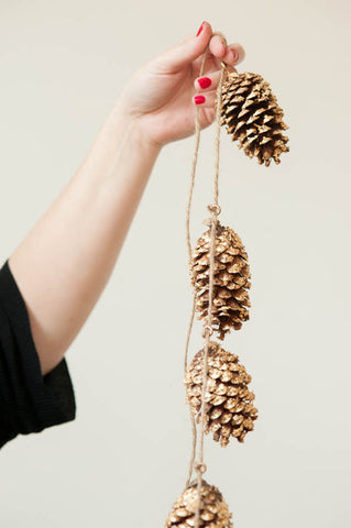 handmade gold pinecone garland