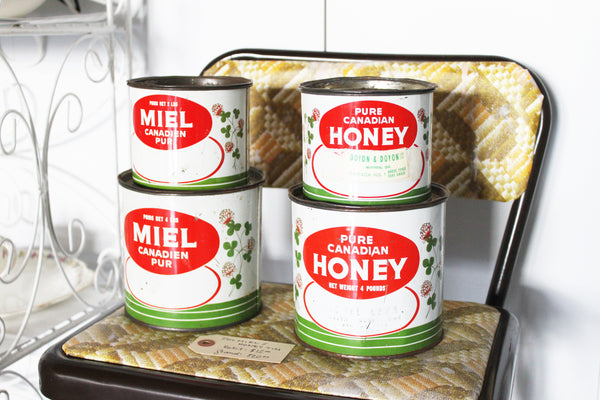 around the Dot & Lil studio: vintage honey tins on sale in the showroom