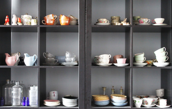 around the Dot & Lil studio: vintage dishware and teacup collection