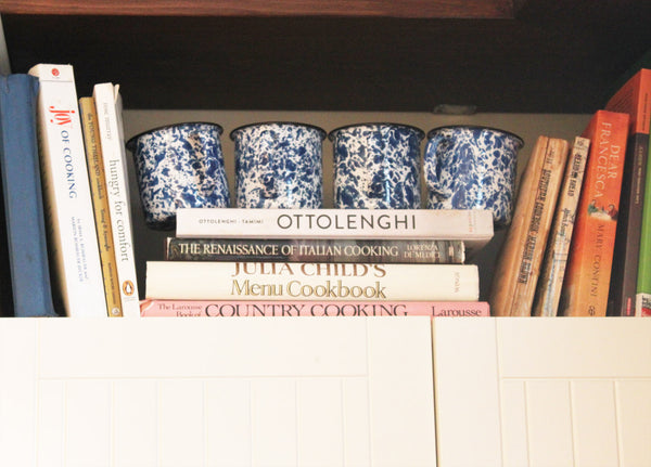 cookbooks julia child otto lenghi with enamelware vintage mug set