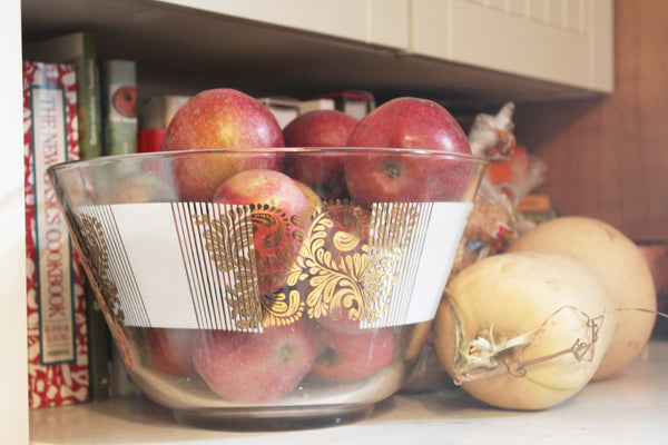fall apples and squash with vintage mid-century chip bowl