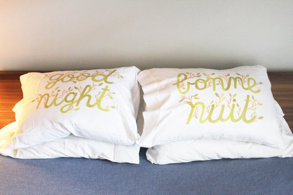 'stay home club' goodnight bonne nuit pillow cases