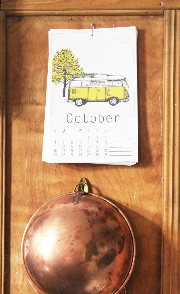 copper bowl and flakes paperie october silkscreen calendar