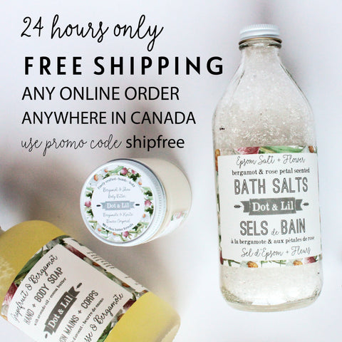 free shipping 24 hours only on all orders anywhere in canada