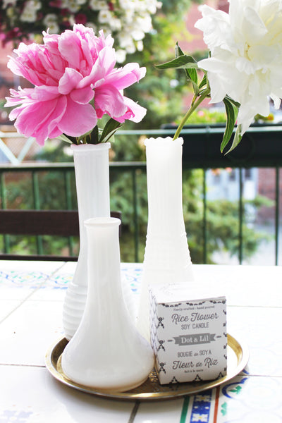 vintage milk glass vase with peonies