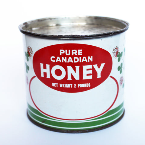vintage antique pure canadian honey tin pot de miel pur canadien
