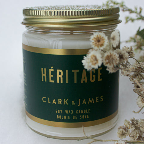 "Clark & James Héritage candle ""in perfect simplicity""