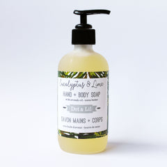 small liquid hand + body soap|petits savons liquides mains + corps