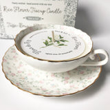 rice flower teacup candle|tasse-bougie fleur de riz