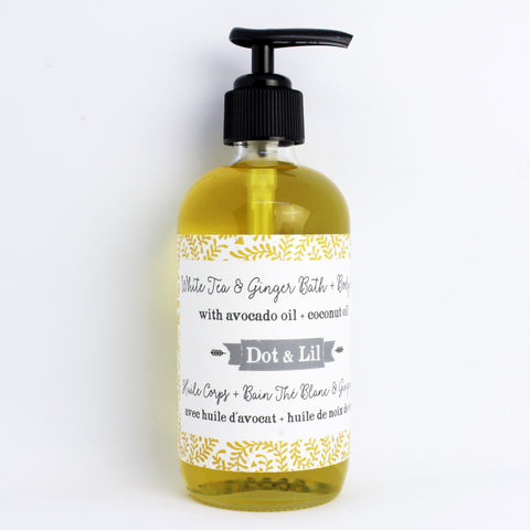 white tea & ginger body oil|huile pour le corps thé blanc & gingembre