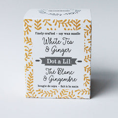 white tea & ginger soy candle|bougie de soya thé blanc & gingembre