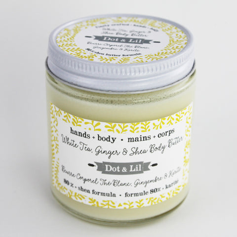 white tea, ginger & shea body butter|beurre corporel thé blanc, gingembre & karité