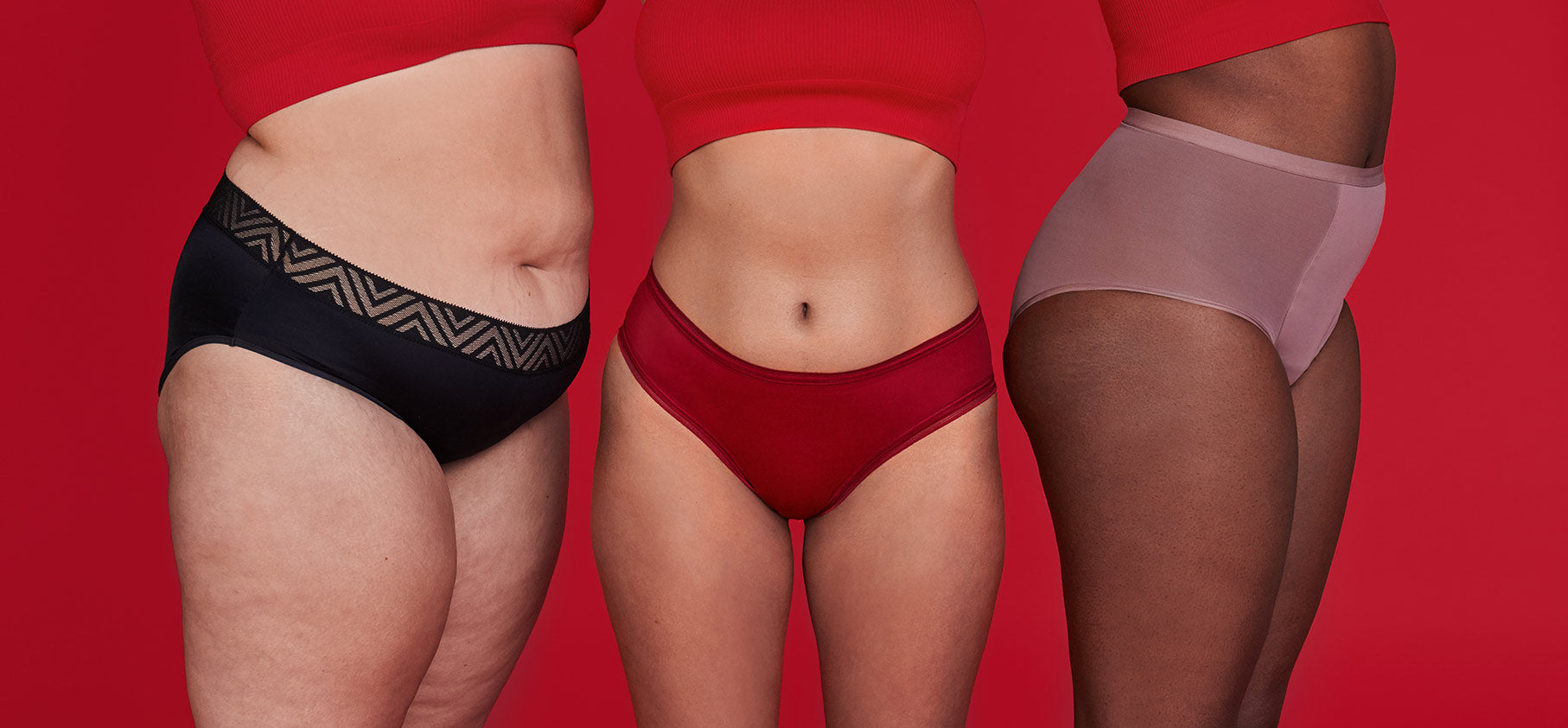 small image with three women modeling Thinx Hiphugger in Black, Thinx Hi-Waist in Dusk and Thinx Cheeky in Crimson