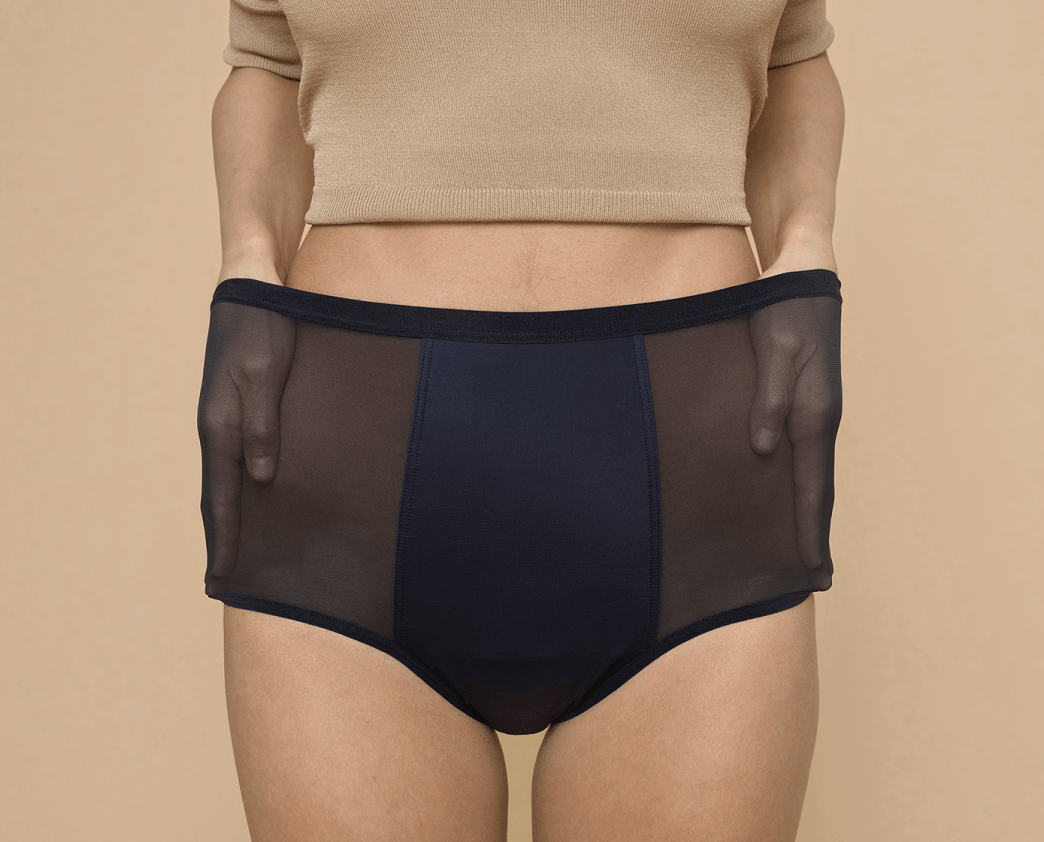 woman modeling Thinx Hi-Waist in Black