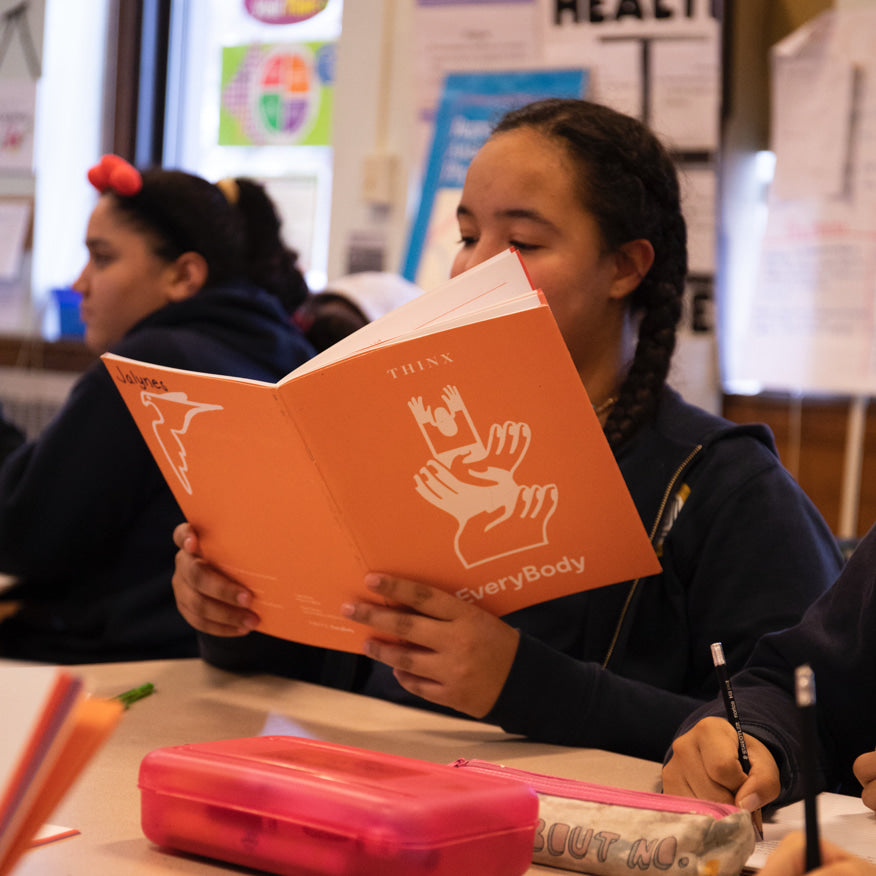 A student participating in Thinx Inc's EveryBody program.
