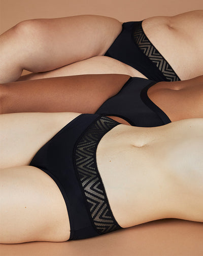 Three people laying down wearing 3 different Thinx styles