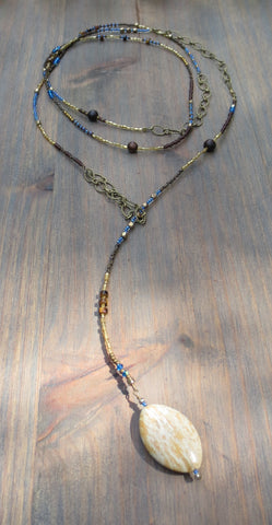 "Beaded Lariat Necklace 50-52"" Ivy"